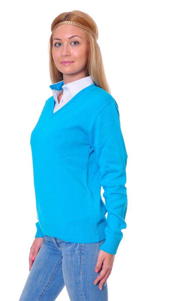 Ученически униформи на ПГИ – Варна светло син пуловер с бяла риза