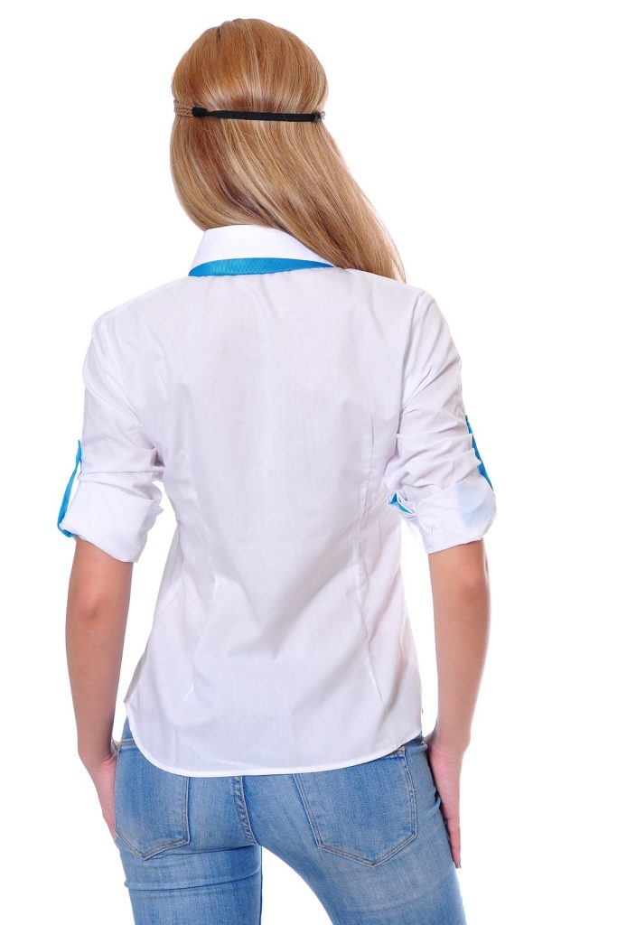 Ученически униформи на ПГИ – Варна дамска бяла риза гръб