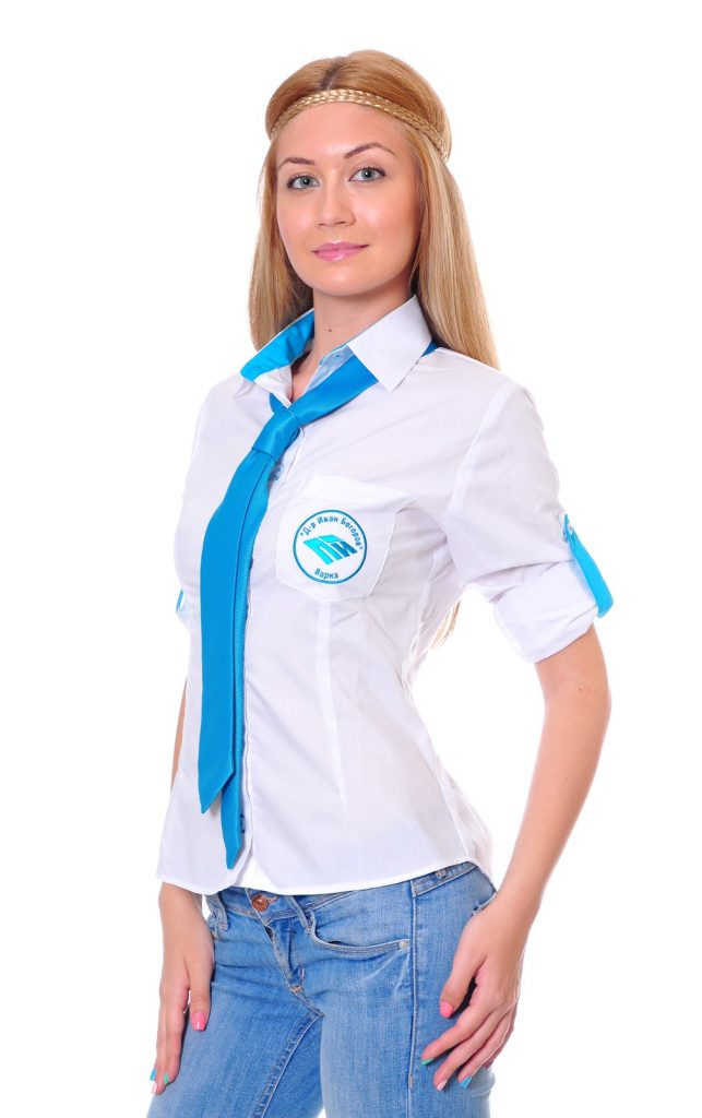 Ученически униформи на ПГИ – Варна дамска бяла риза с вратовръзка