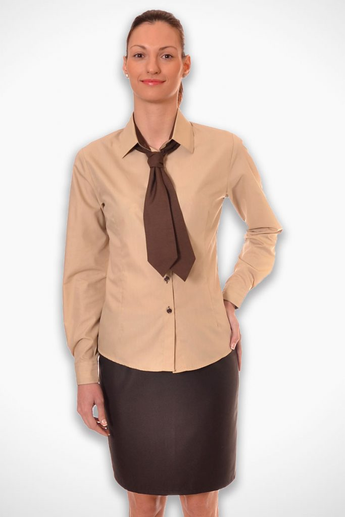 дамска униформа за хотел в кафяво