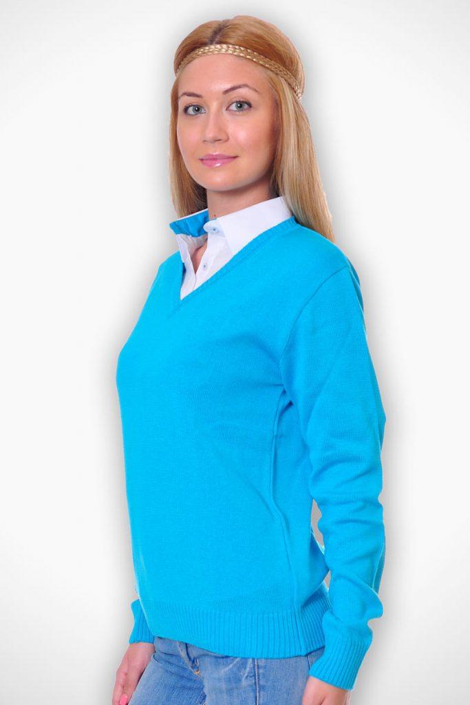 пуловер като допълнение към униформа - син
