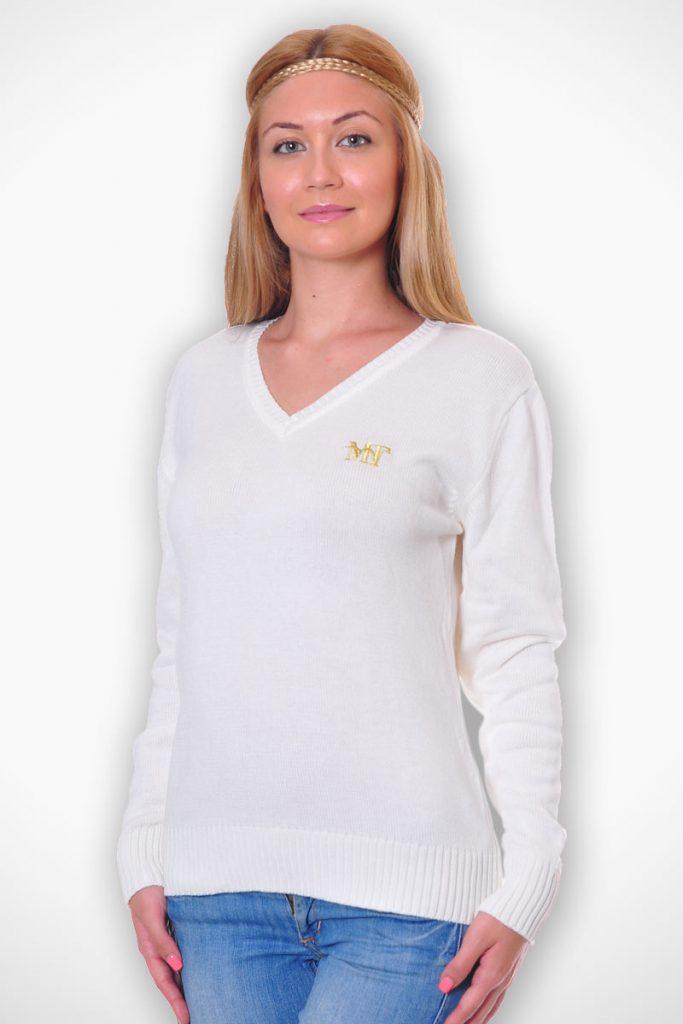 пуловер като допълнение към униформа - бял